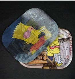 Bart Simpson Will Work For Weed Small 3D Metal Rolling Tray