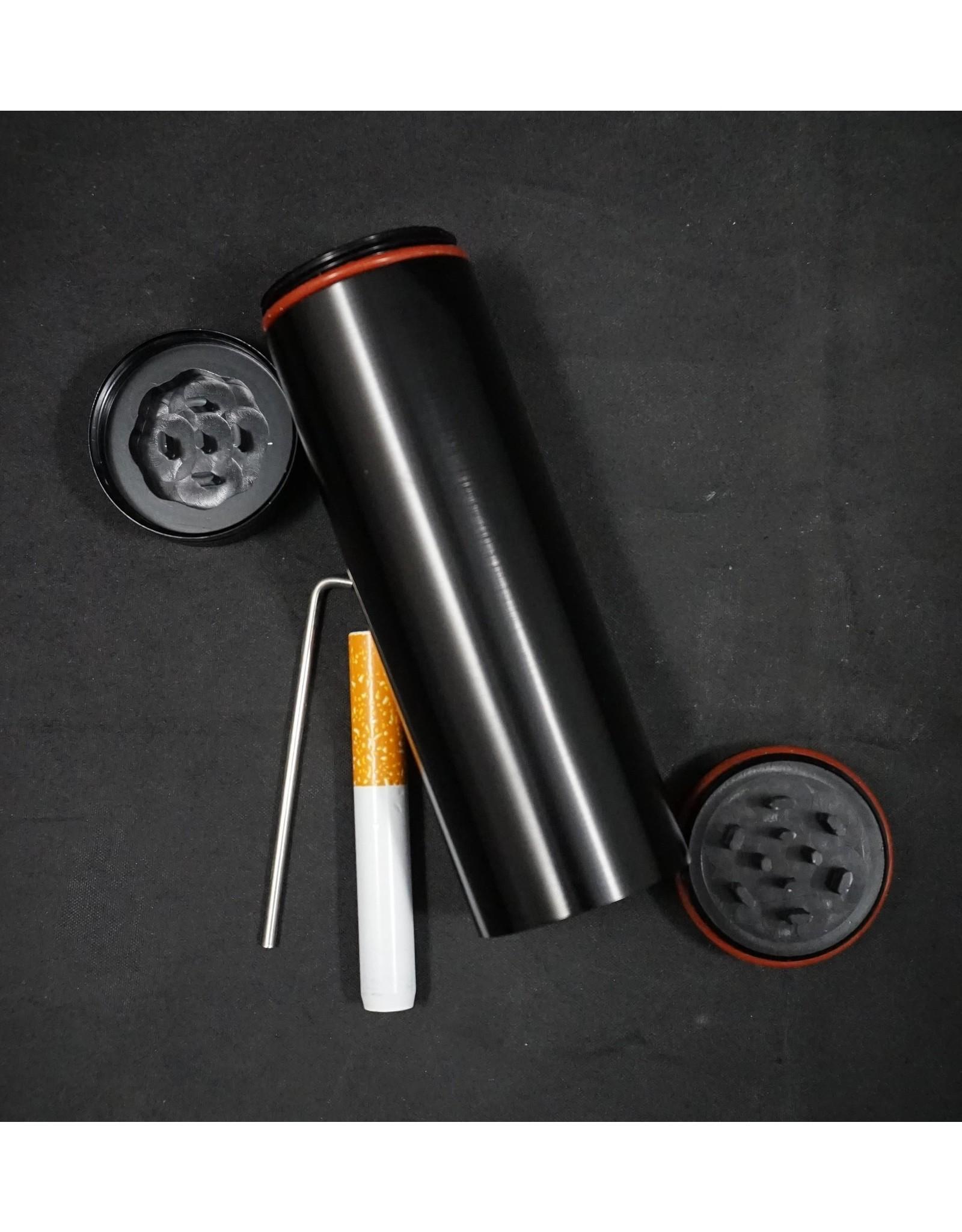All in 1 Metal Smoke Stopper w/ Poker & Grinder - Silver