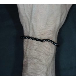 Elastic Bracelet 4mm Round Beads - Black Onyx