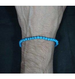 Elastic Bracelet 4mm Round Beads - Turquoise