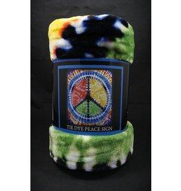 Tie Dye Peace Sign Blanket