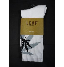 Leaf Socks - White with Gray Black  Leaves