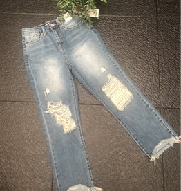YMI Distressed Ankle Jeans with Fray - Denim
