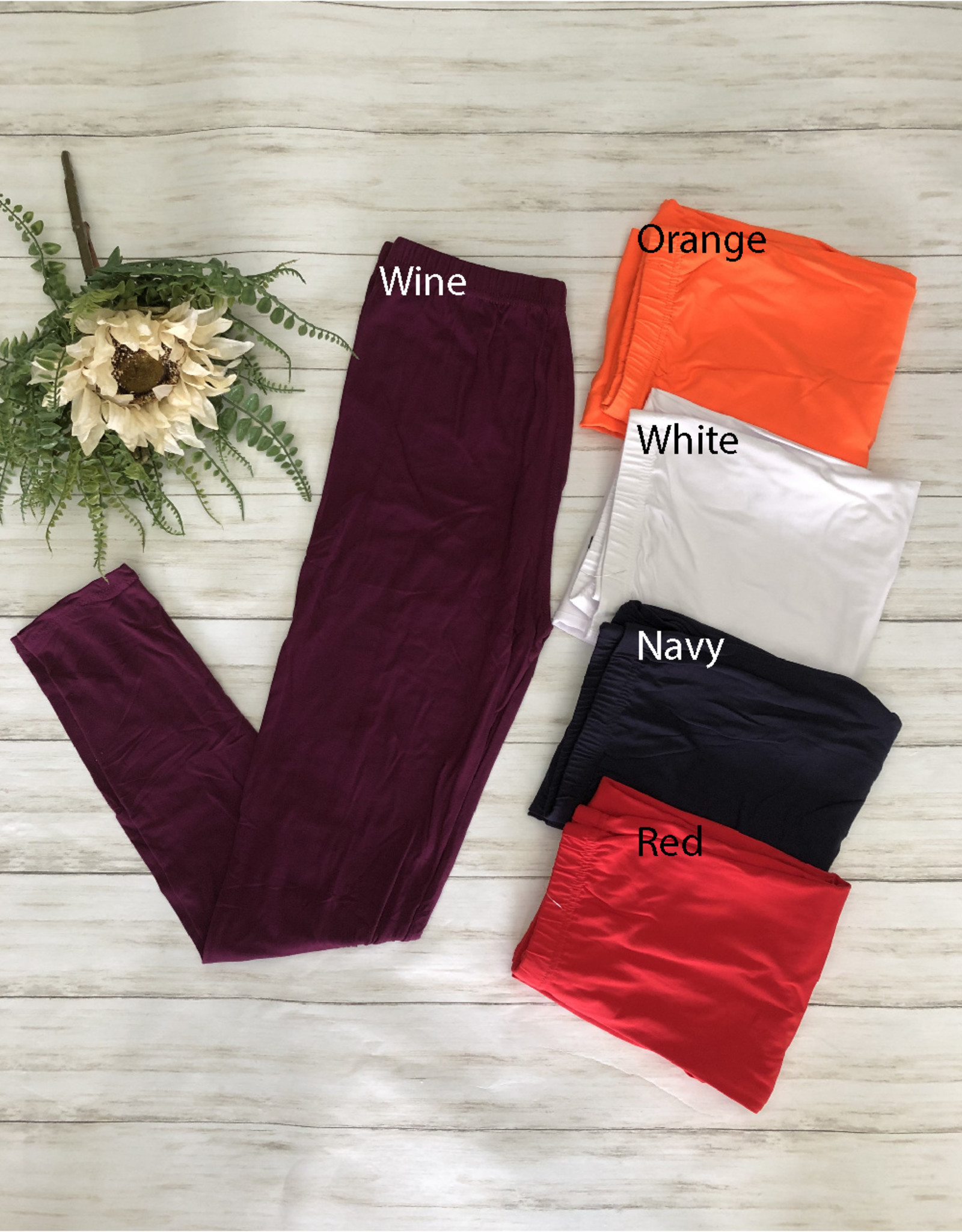 SASS Boutique Exclusive Regular Size Full Length Solid Brushed Leggings