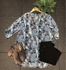 SASS Boutique Exclusive Navy and Off White Paisley Top