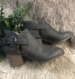 Taupe Buckled Ankle Booties