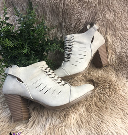 Stone Woven Heeled Ankle Booties
