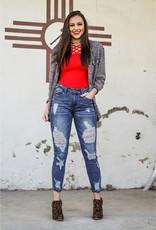 L&B Mid Rise Ankle Distressed Skinny Jeans-Dark Wash