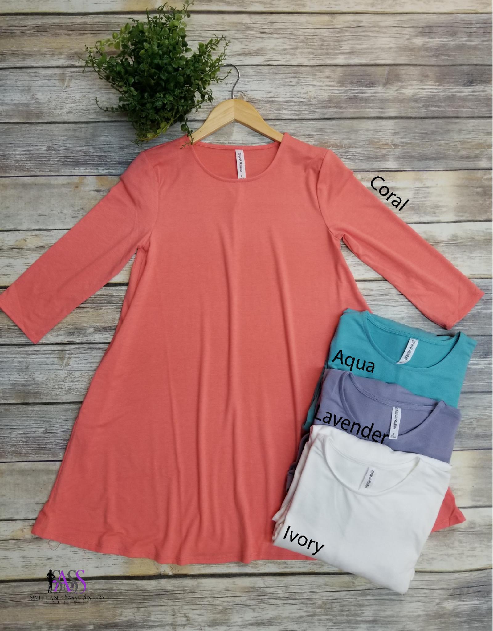 Basic 3/4 Sleeve Solid Tunic