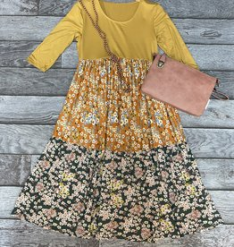 SASS Boutique Exclusive Mustard Tiered Midi Dress
