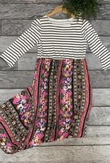 SASS Boutique Exclusive Stripe Maxi Dress Pink Floral