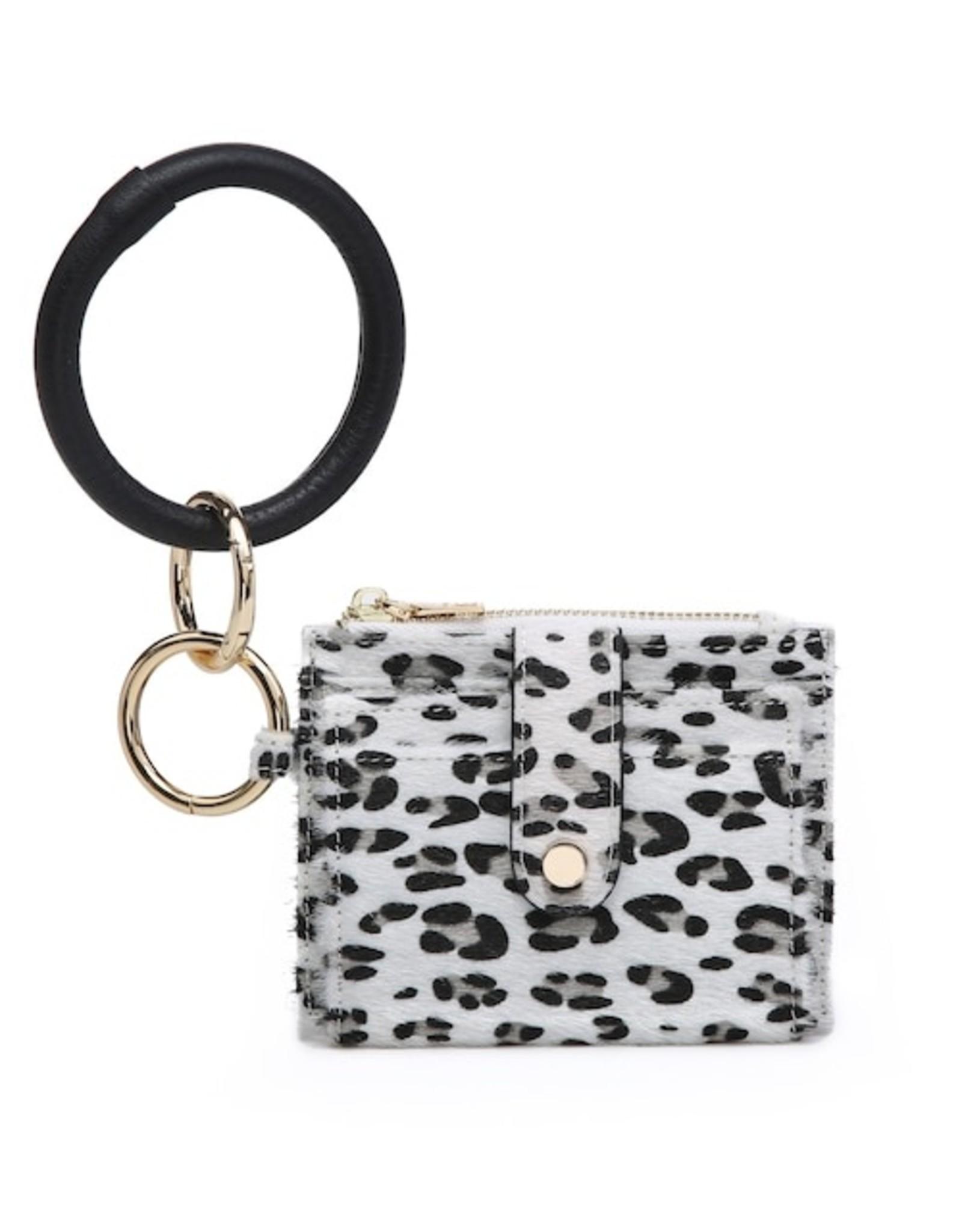 SASS Boutique Exclusive White Leopard Mini Snap Wallet