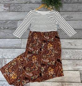 SASS Boutique Exclusive Black/Rust Paisley Maxi Dress