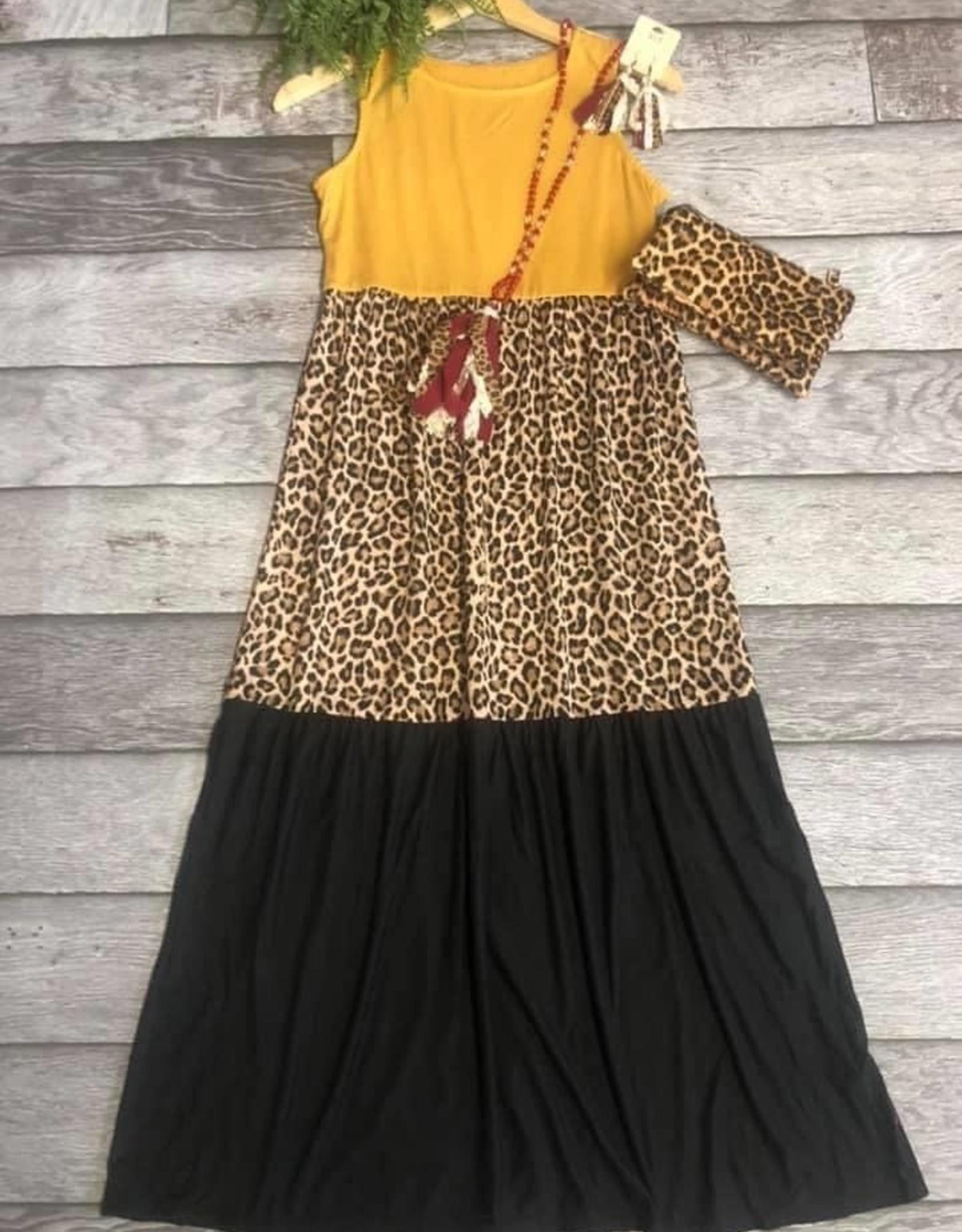 SASS Boutique Exclusive Mustard Animal Print Dress