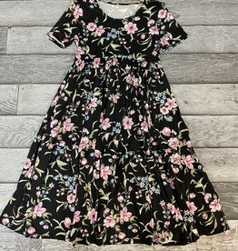 SASS Boutique Exclusive Black Floral Tiered Midi Dress