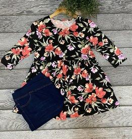 SASS Boutique Exclusive Black Floral Babydoll Top