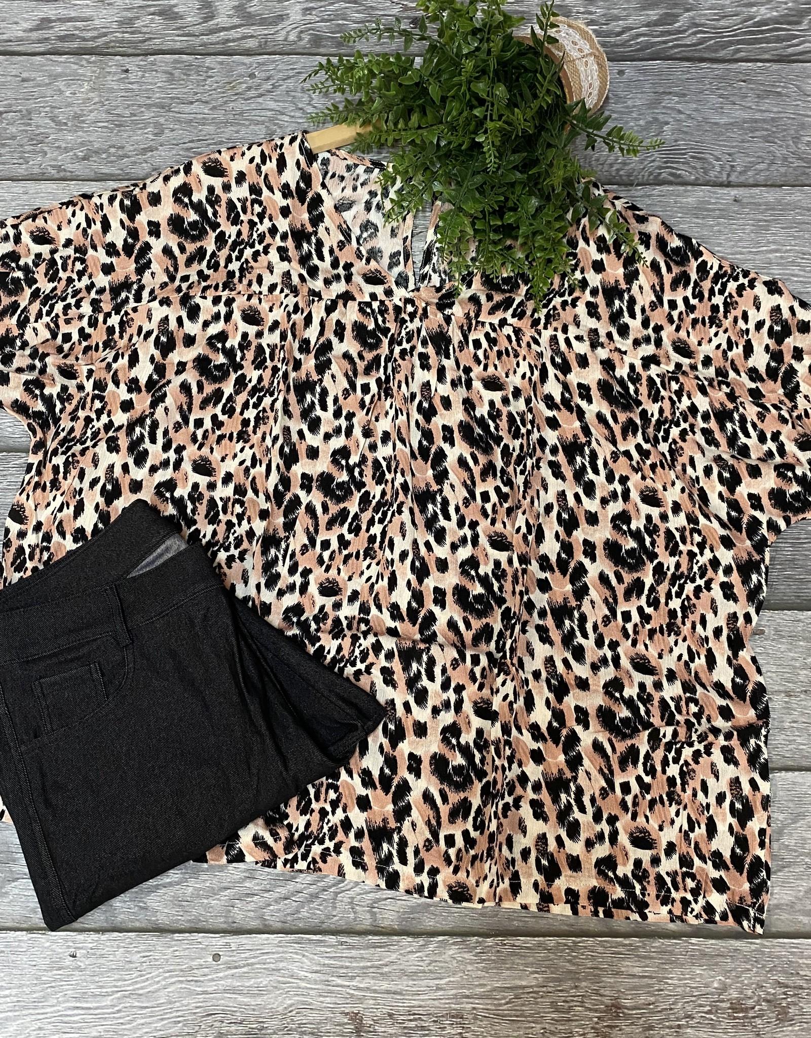 SASS Boutique Exclusive Khaki Leopard Woven Top