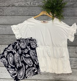 SASS Boutique Exclusive Offwhite Ruffle Shortsleeve Top