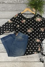 SASS Boutique Exclusive Black Floral Dolman Top