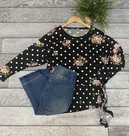 SASS Boutique Exclusive Black Floral Dolman Top