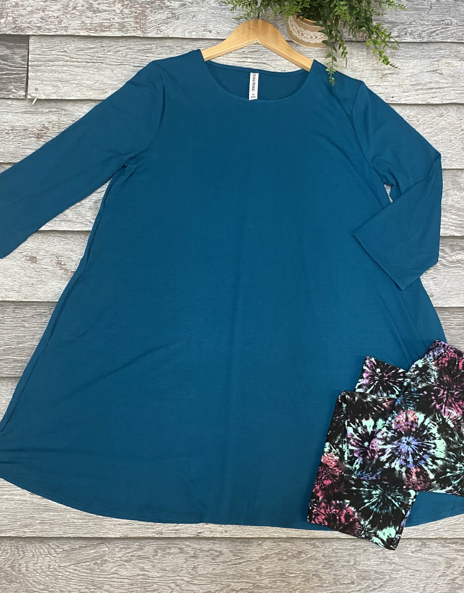 SASS Boutique Exclusive Solid Tunic 3/4 Sleeve