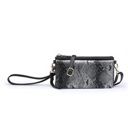 Buford Wholesale Black Snakeskin Crossbody