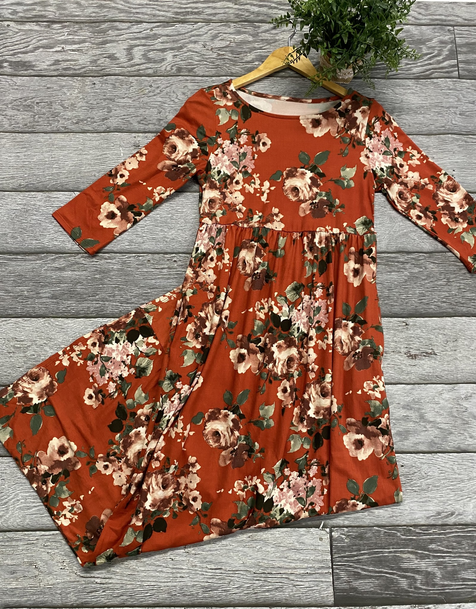 SASS Boutique Exclusive Rust Floral Maxi Dress