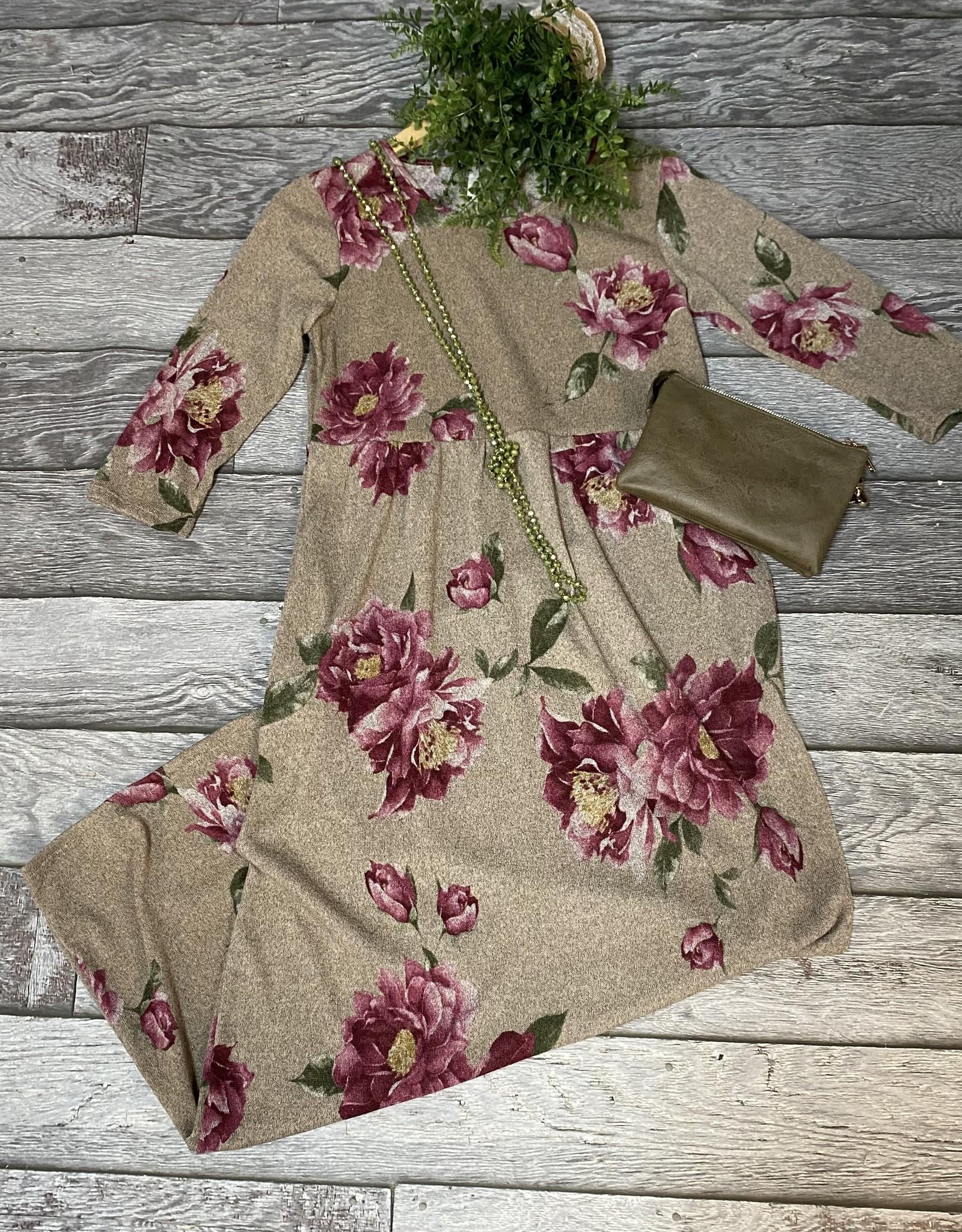 SASS Boutique Exclusive Mocha Floral Maxi Dress