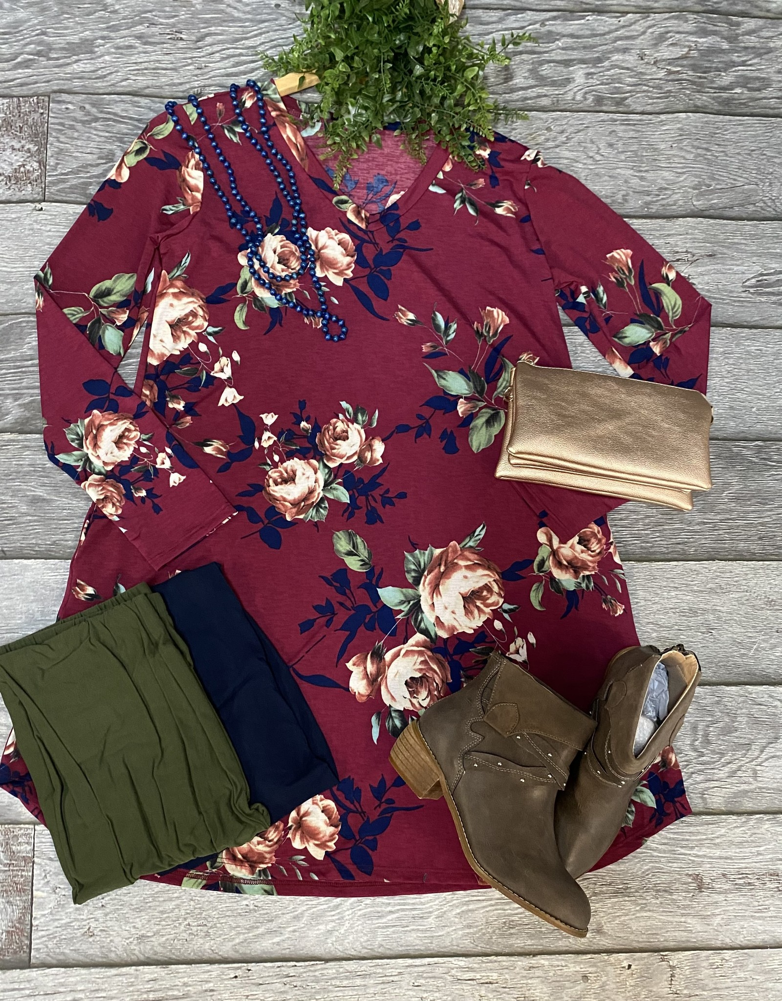 SASS Boutique Exclusive Burgundy Floral Dress