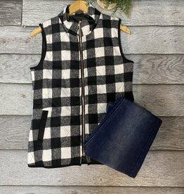 SASS Boutique Exclusive Black/Ivory Plaid Vest