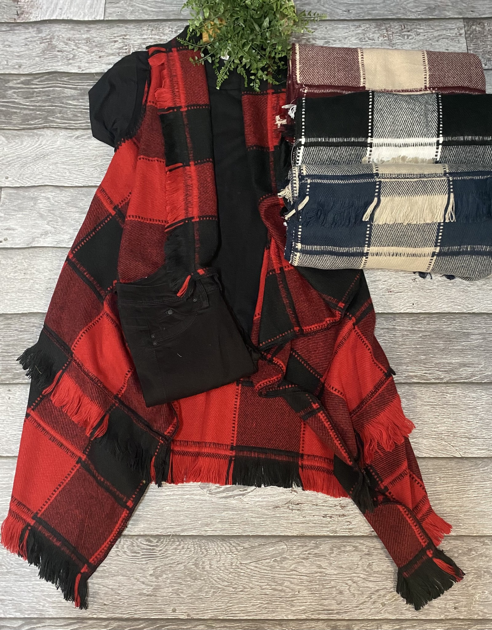 SASS Boutique Exclusive One Size Plaid Vest