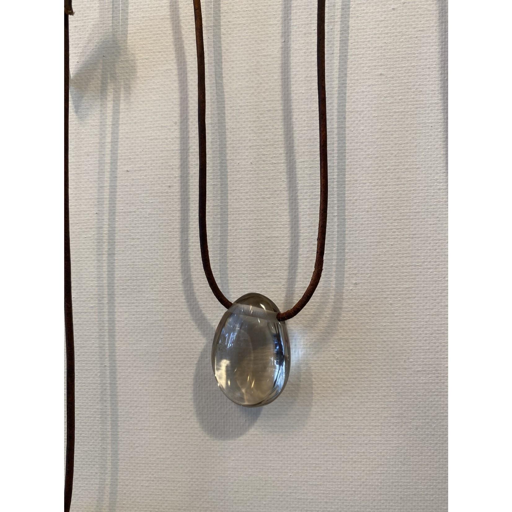 Smokey Quartz Necklace on leather cord