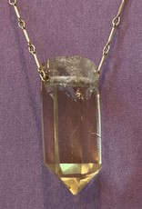 Citrine Amulet gold chain, heart clasp