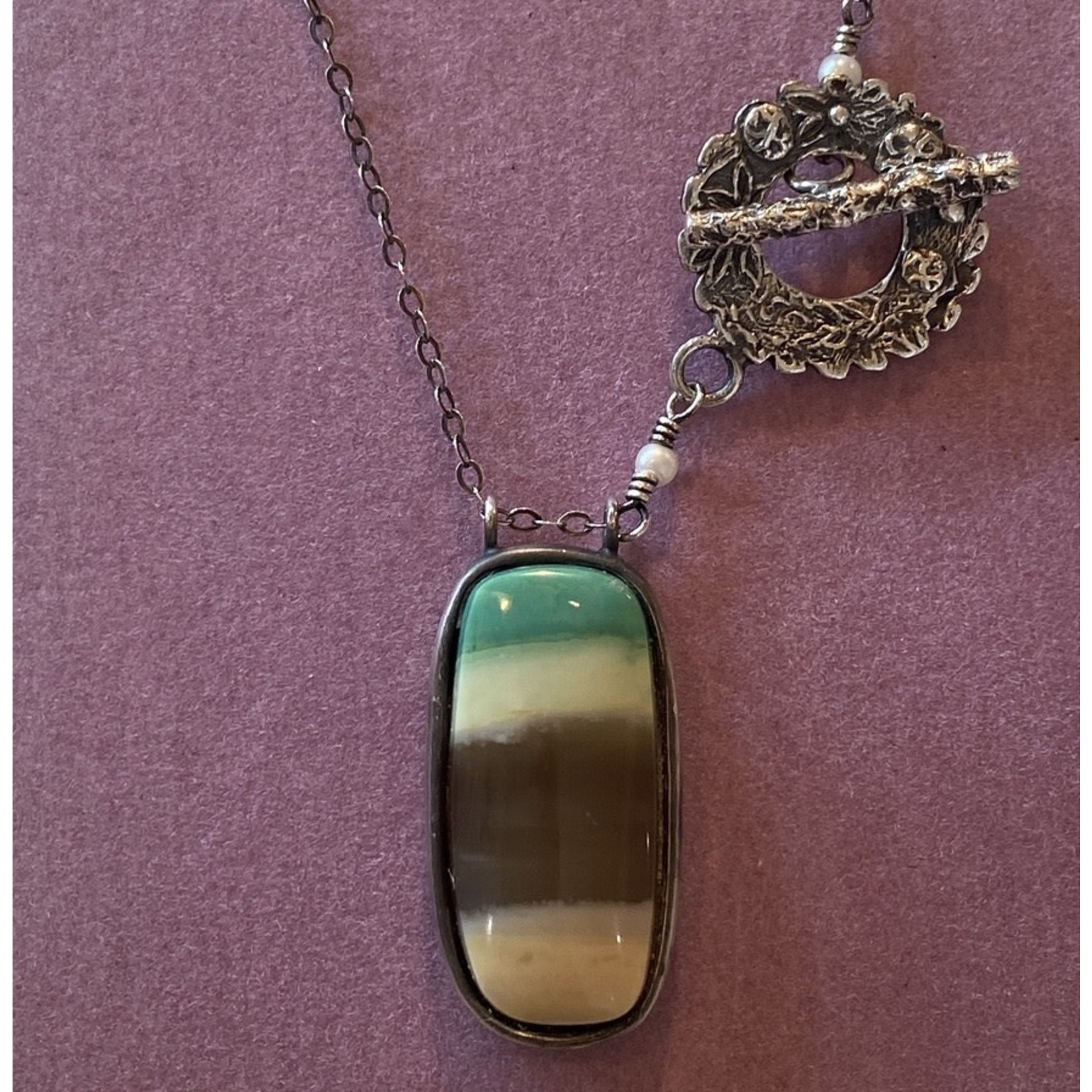 Opalized Wood Amulet w/ Oxidized silver chain necklace and ornate clasp