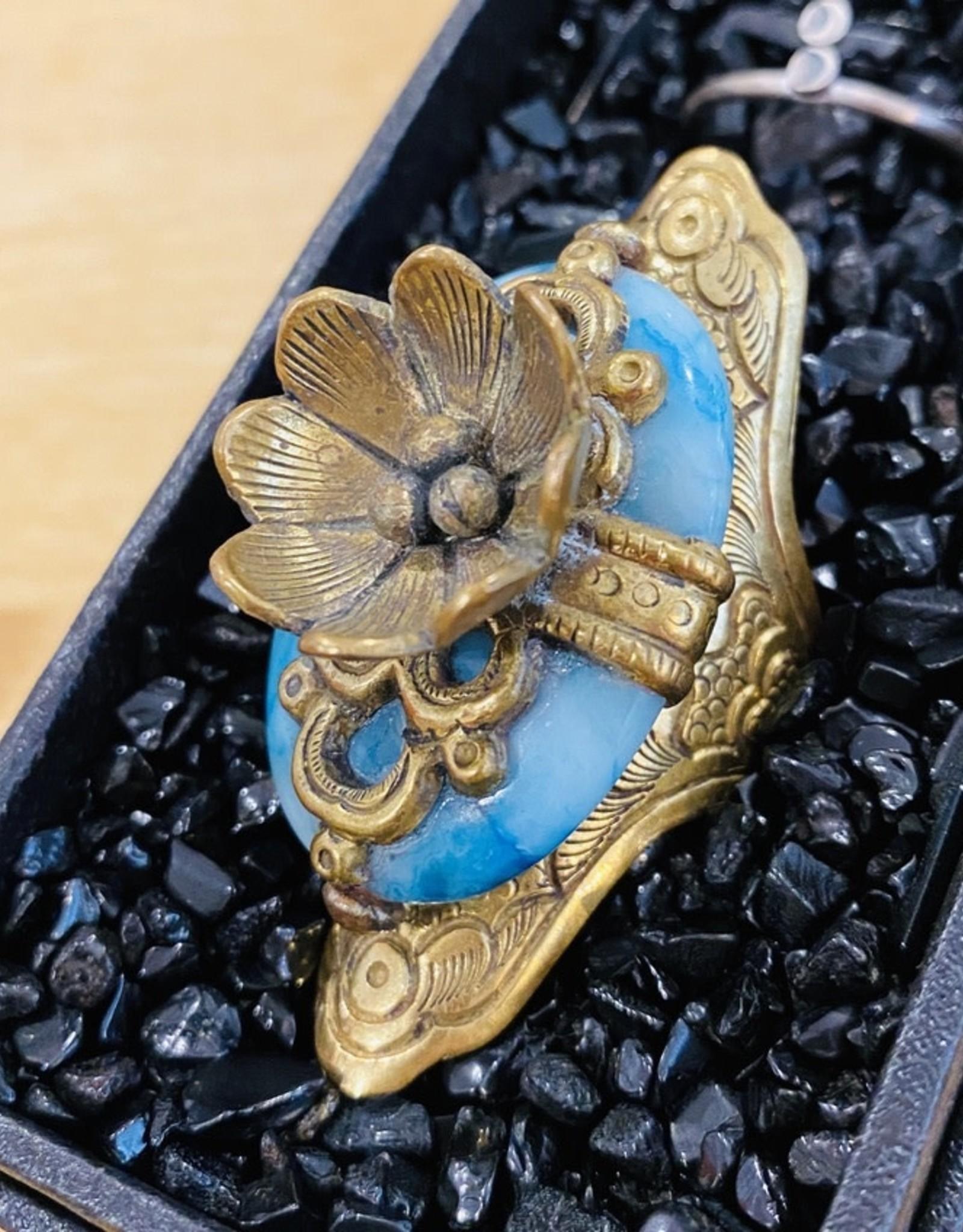 Blue lace agate tibetan lotus flower ring