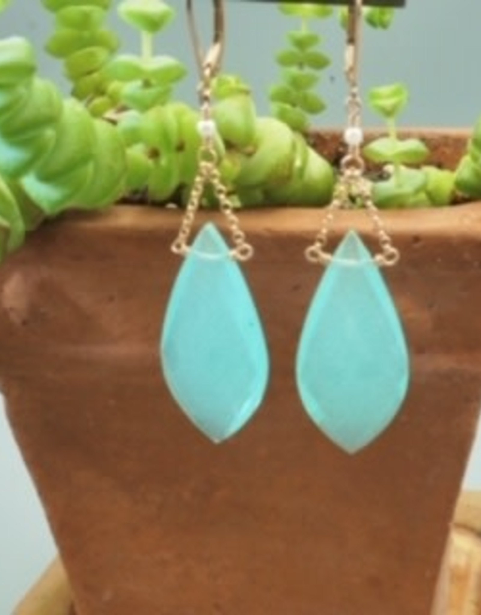 Faceted Chalcedony drops earrings in rose gold