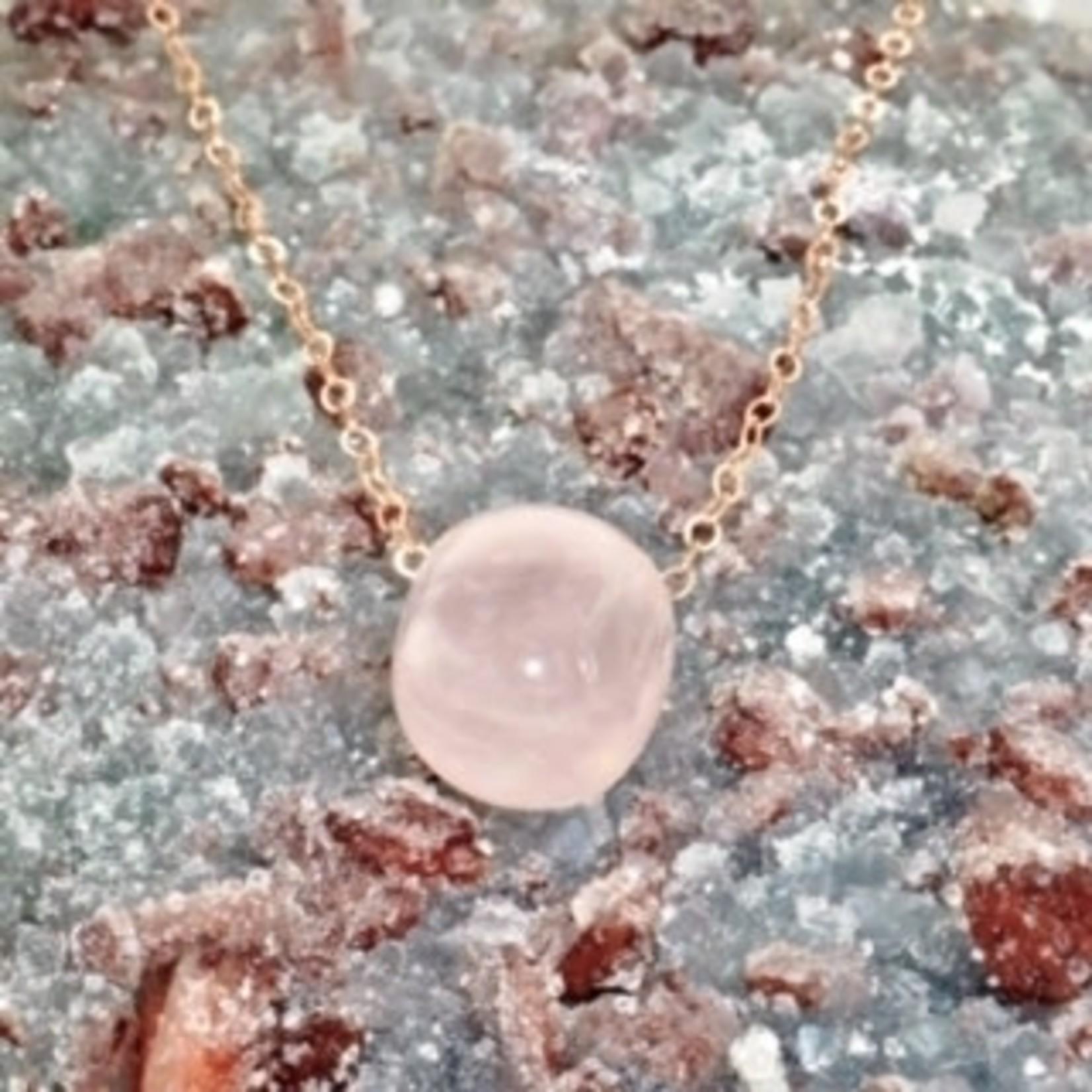 Rose Quartz Amulet rose gold chain