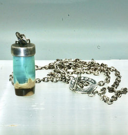 Opalized Wood Amulet w/long Oxidized silver chain necklace and ornate clasp