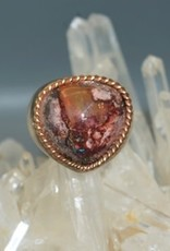 Fire Opal Heart wrapped in 14k Rose Gold braid & Sterling Silver band. Size 7