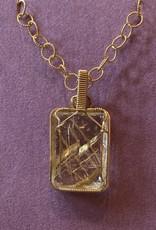 Golden Rutilated Quartz w/rose gold chain