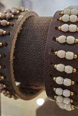 leather cuff- champagne-6.5''