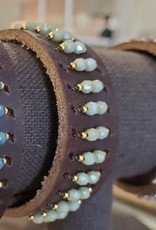 leather cuff-jade-6.5''