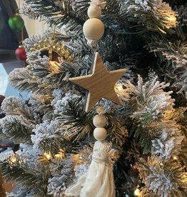 Wood Star linen ornament