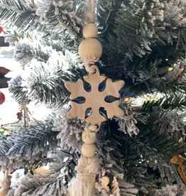 Wood Snowflake Linen Ornament