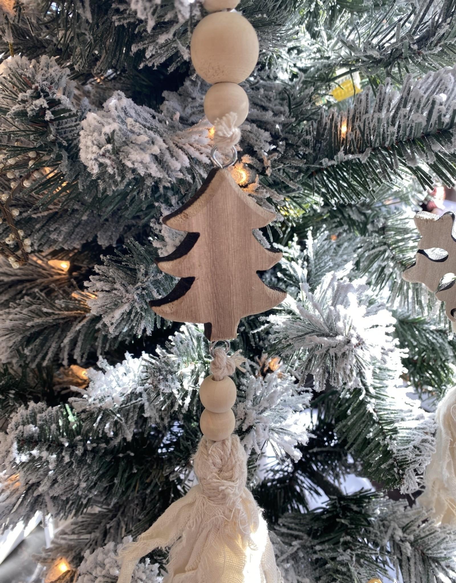 Wood Tree Linen Ornament