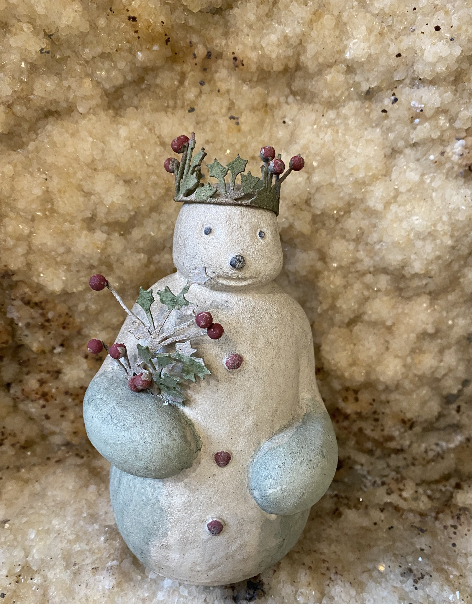 Vintage Snowman with crown