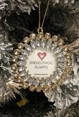 Round glass jeweled ornament