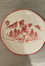 Red Winter Scene Plate