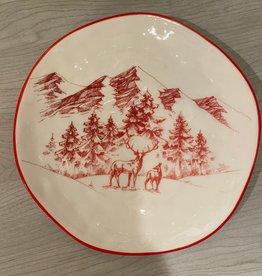 Red Winter Scene Plate