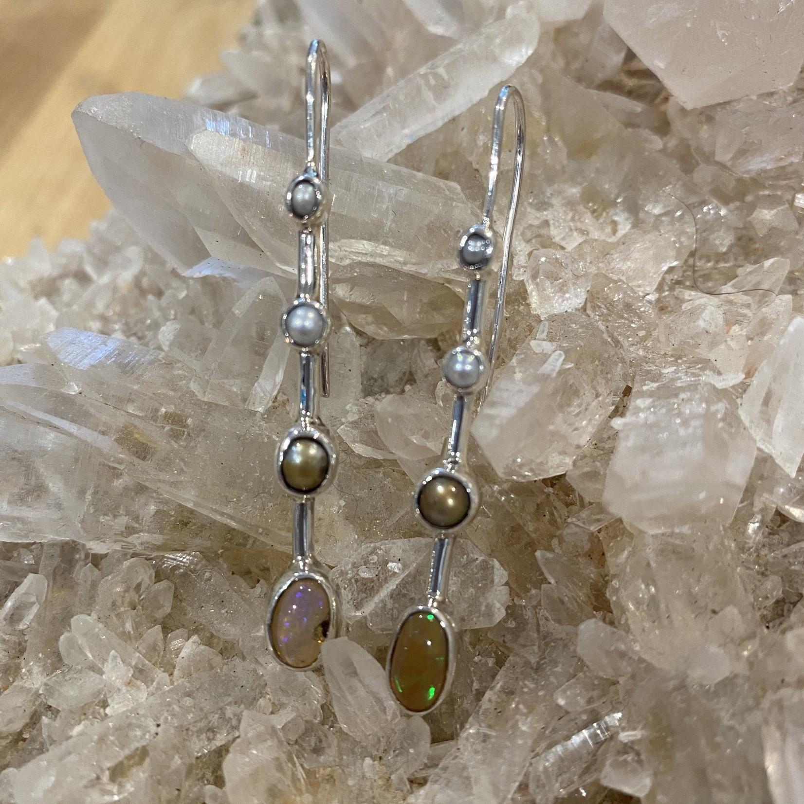 Fire Opal/Pearl Earrings
